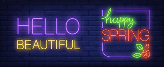 Szczęśliwy wiosna neonowy znak. witaj piękny napis z kwiatami i liśćmi.