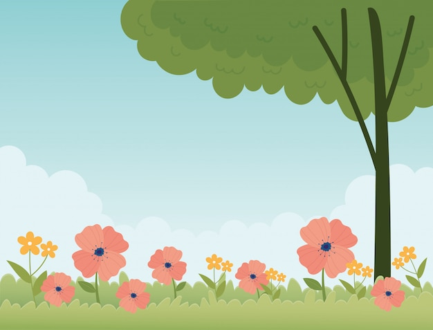 Szczęśliwy wiosny pole kwitnie drzewnego botanicznego kwiecistego tło