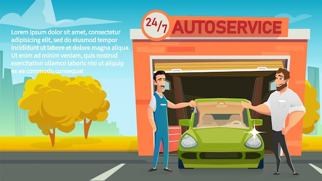 Szczęśliwy właściciel biorący samochód z serwisu cartoon