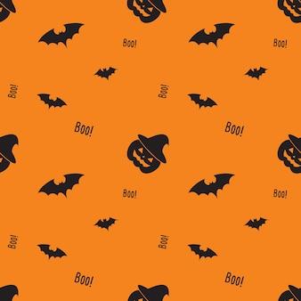Szczęśliwy wzór halloween z dyni, bat, czarownica kapelusz