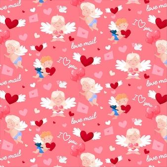 Szczęśliwy wzór walentynki. cudowne amorki i anioły, miłosne listy, gołąbki i serca.