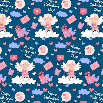Szczęśliwy wzór walentynki. śliczne amorki i anioły, miłosne listy, chmury i serca.