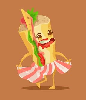Szczęśliwy zabawny taniec charakter kanapki
