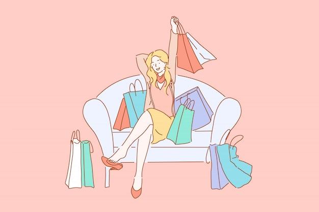 Szczęśliwy zakupoholiczki z zakupami, koncepcja konsumpcjonizmu