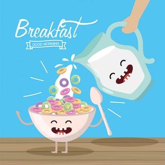 Szczęśliwy zbóż z łyżką i słoik mleka