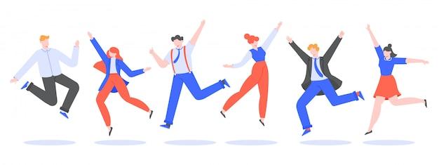 Szczęśliwy zespół biurowy skoków. uśmiechnięci ludzie skaczący w pracy zwycięska impreza, święto zespołu biznesowego, koledzy z korporacji świętują i radują razem ilustracja. charakter współpracownika