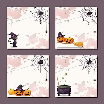 Szczęśliwy zestaw bannerów na halloween
