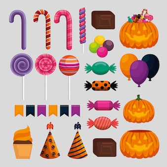 Szczęśliwy zestaw dekoracji halloween