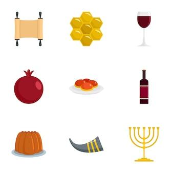 Szczęśliwy zestaw ikon rosz haszana. płaski zestaw 9 szczęśliwych ikon hashanah rosh