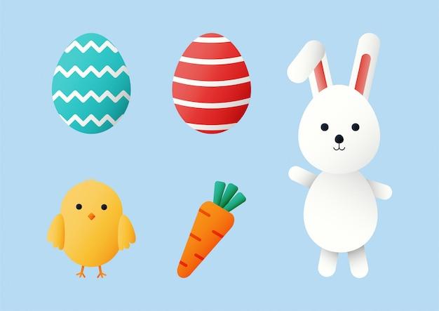 Szczęśliwy zestaw wielkanocny. króliki i pisklęta postać z kreskówki na białym tle na niebieskim tle.