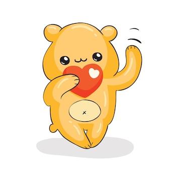 Szczęśliwy żółty niedźwiedź z czerwonym sercem, modny styl kawaii, ilustracja wektorowa eps10