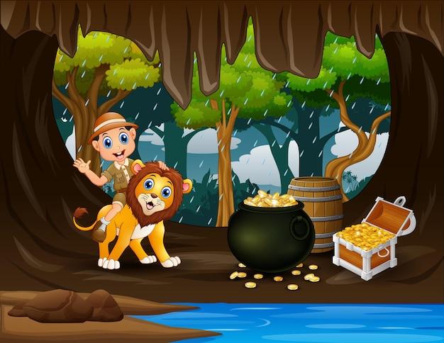 Szczęśliwy zookeeper i lew na ilustracji jaskini skarbów