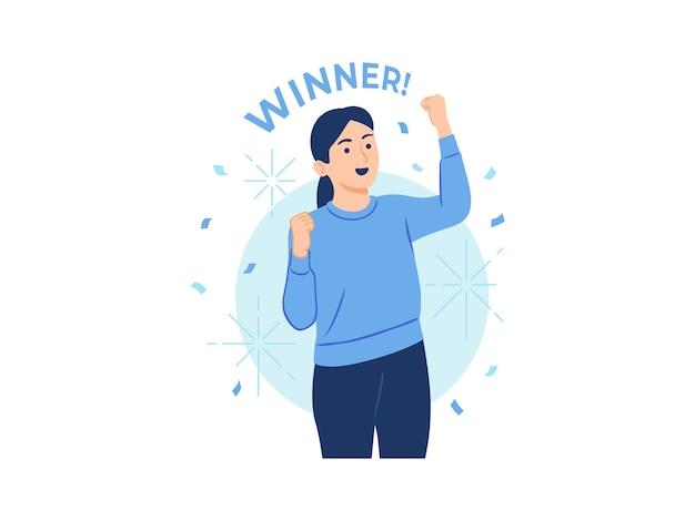 Szczęśliwy zwycięzca kobieta świętuje sukces, podnosząc pięści ręce do góry ilustracja koncepcja