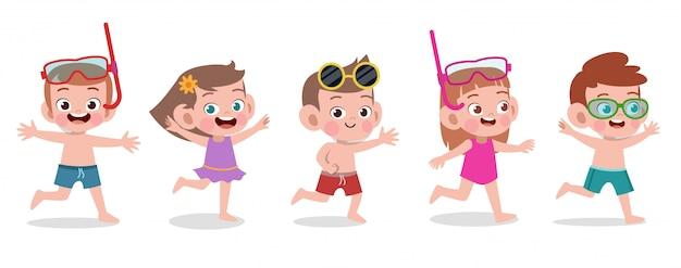 Szczęśliwych dzieci plażowa wakacyjna wektorowa ilustracja odizolowywająca