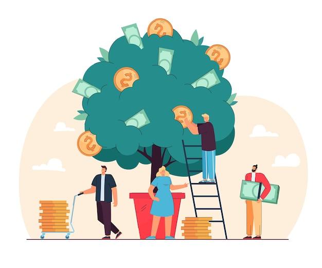 Szczęśliwych malutkich ludzi rośnie drzewo pieniędzy na białym tle płaska ilustracja