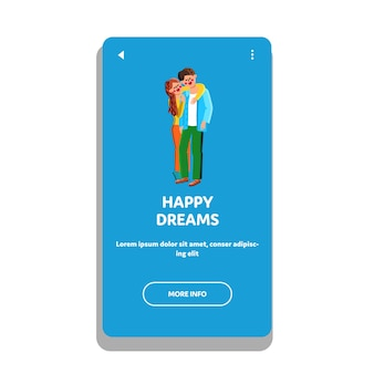 Szczęśliwych snów młody mężczyzna i kobieta rodziny wektor. para z pozytywnymi szczęśliwymi snami, żona obejmująca męża z miłością. postacie chłopiec i dziewczynka marzą razem ilustracja kreskówka w sieci web