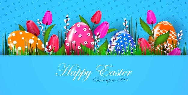 Szczęśliwych świąt wielkanocnych baner ulotki lub kartkę z życzeniami z ozdobnymi jajkami i kwiatami poziomymi ilustracjami
