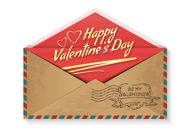 Szczęśliwych walentynek. bądź moją walentynką. miłosna wiadomość w kopercie. romantyczny projekt na walentynki. ilustracja