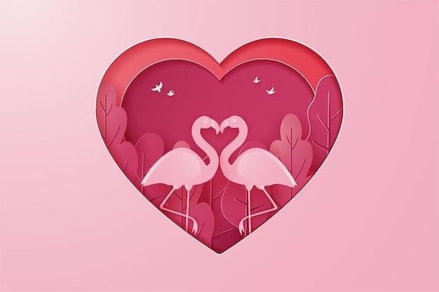 Szczęśliwych walentynek baner z parą gęsi lub łabędzią miłością i stylem cięcia papieru drzewa