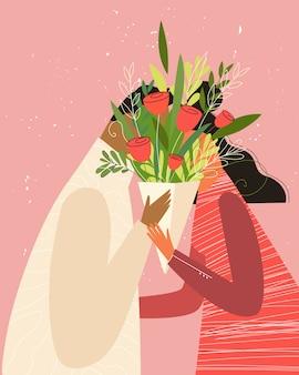 Szczęśliwych walentynek ilustracji. urocza romantyczna para w miłości całuje się za kwiatami