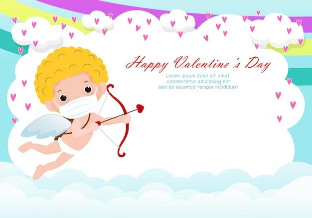 Szczęśliwych walentynek kartka z życzeniami z uroczym amorem noszącym maskę na twarz, chroniąca przed wirusem koronowym lub koronawirusem