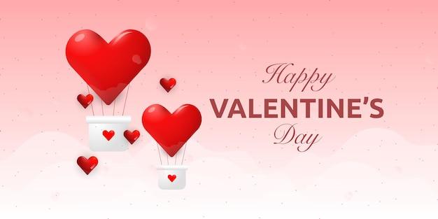 Szczęśliwych walentynek kartkę z życzeniami z balonem czerwonym sercem