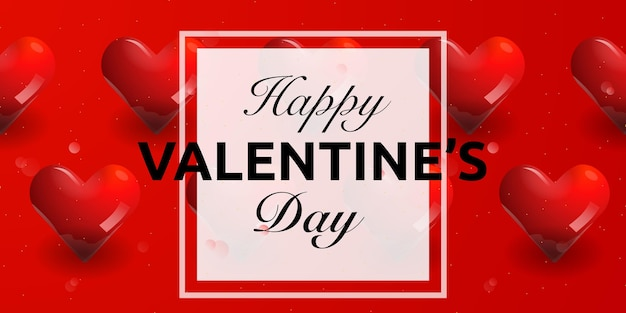 Szczęśliwych walentynek kartkę z życzeniami z czerwonym sercem