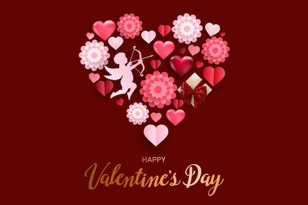 Szczęśliwych walentynek kartkę z życzeniami z wolumetrycznymi sercami, kupidynem i kwiatami.