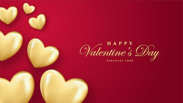 Szczęśliwych walentynek kartkę z życzeniami z złote balony w kształcie serca