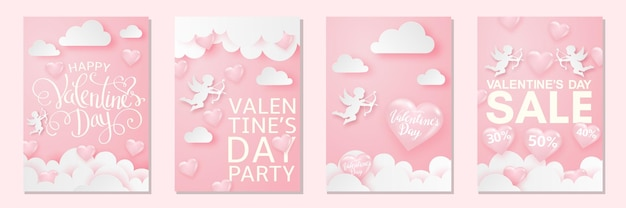 Szczęśliwych walentynek karty z serduszkami, kupidynem i chmurami, delikatnym różowym świątecznym tle.