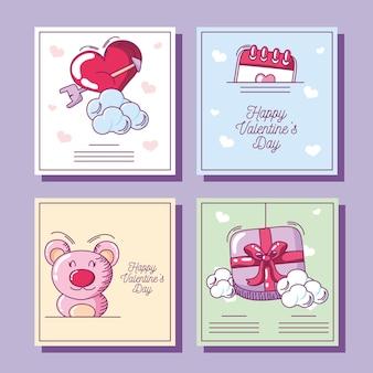 Szczęśliwych walentynek, kolekcja kart okolicznościowych z prezentem serce niedźwiedzia ręcznie rysowane styl ilustracji wektorowych