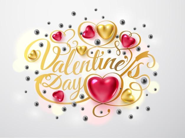 Szczęśliwych walentynek. kompozycja złota czcionka ze strzałką, czerwonymi i złotymi sercami, srebrne koraliki na białym tle. romantyczna ilustracja wektorowa wakacje.
