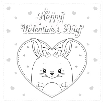 Szczęśliwych walentynek ładny króliczek rysunek pocztówka duże serce szkic do kolorowania