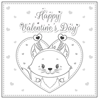 Szczęśliwych walentynek ładny lis rysunek pocztówka duże serce szkic do kolorowania