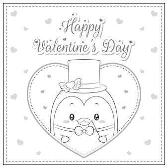 Szczęśliwych Walentynek ładny Pingwin Rysunek Pocztówka Duże Serce Szkic Do Kolorowania Premium Wektorów