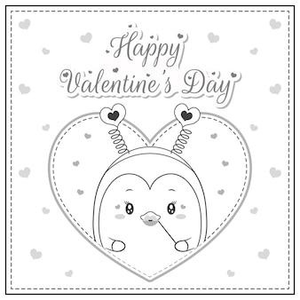 Szczęśliwych walentynek ładny pingwin rysunek pocztówka duże serce szkic do kolorowania