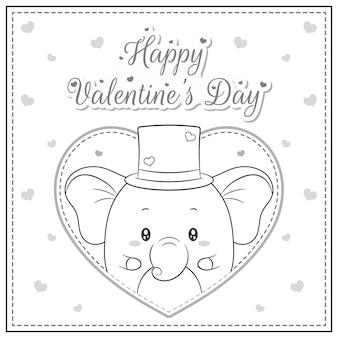 Szczęśliwych walentynek ładny słoń rysunek pocztówka duże serce szkic do kolorowania