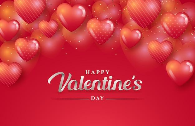 Szczęśliwych walentynek napis na tle miłości serca