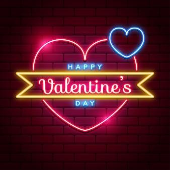 Szczęśliwych walentynek neonowy szyld z jaskrawym różowym i błękitnym wektorowym neonowym sercem na czerwonych cegieł ścianach