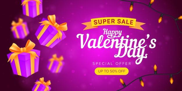 Szczęśliwych walentynek oferta specjalna pozioma ulotka szablon lub baner reklamowy super sprzedaży.