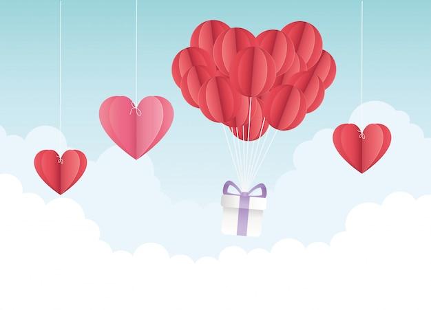 Szczęśliwych walentynek origami balony serca prezent chmury
