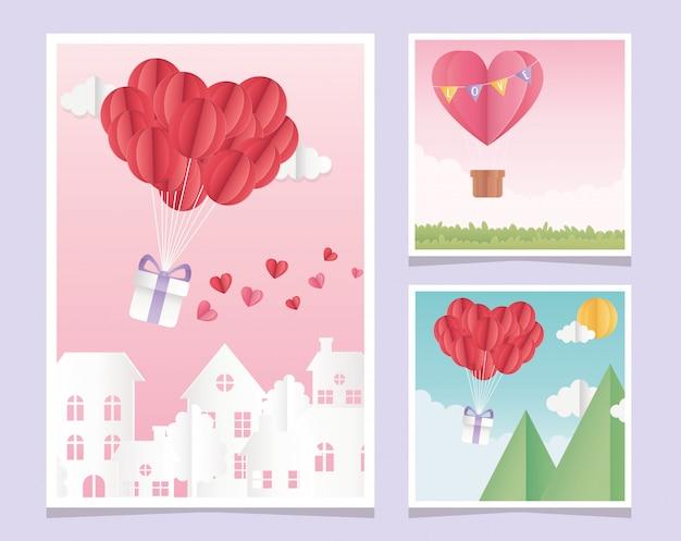 Szczęśliwych walentynek origami papierowe balony serce odkryte miasto kart