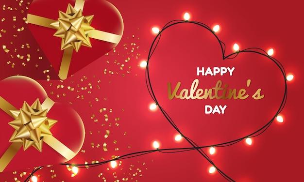 Szczęśliwych walentynek ozdobione lampkami w kształcie serca. realistyczna miłość prezent świąteczny prezent.