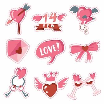 Szczęśliwych walentynek pakiet naklejek miłości