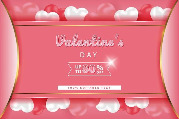 Szczęśliwych Walentynek Promocja Banner Premium Wektorów