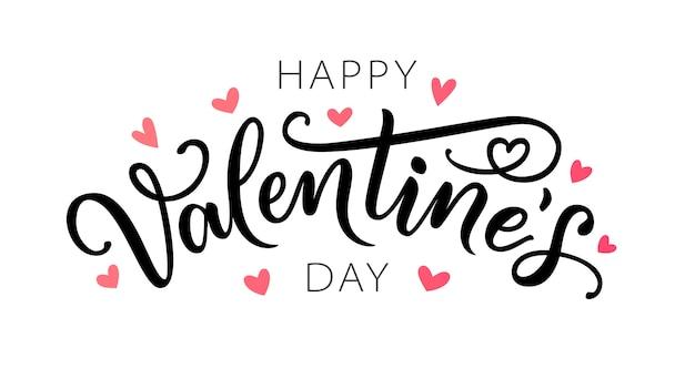 Szczęśliwych walentynek. ręka napis valentine karty