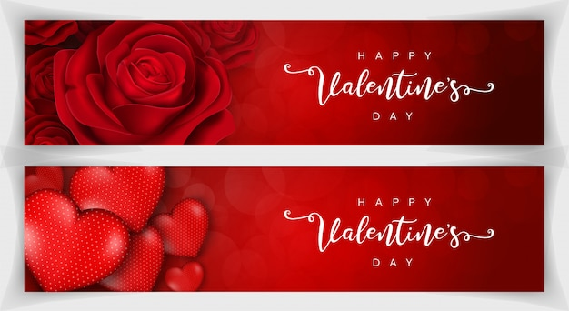 Szczęśliwych walentynek romantyczny realistyczny transparent czerwony