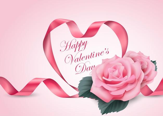 Szczęśliwych walentynek różowa wstążka serce z delikatną różową kwitnącą wiśnią vector