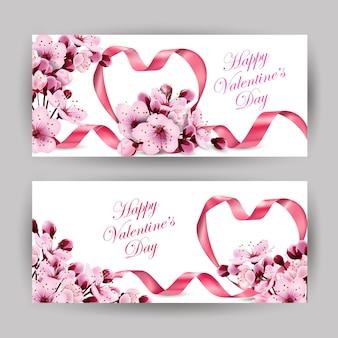 Szczęśliwych walentynek różowe serce wstążki z delikatną różową kwitnącą wiśnią szablon