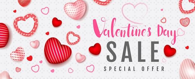 Szczęśliwych walentynek, różowy styl akwarela, baner promocji sprzedaży